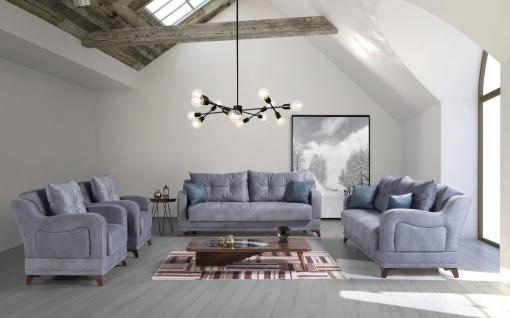 Exklusive Couch Garnitur ausziehbar in Blau Elis 3+2+1