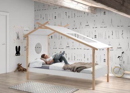 Coco Zelt-Bett Weiß Natur 90x200 ohne Bettkasten