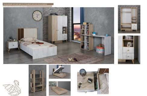 Jugendzimmer Set in modernem Design Flori 3-teilig - Vorschau 2