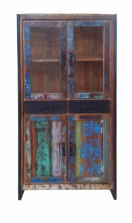 Vitrine Carisi mit 4 Türen aus buntem Altholz