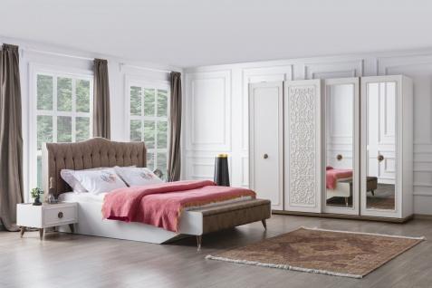 Schlafzimmer Boston in Weiß mit Stauraumbett 180x200
