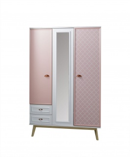 Titi Kinderkleiderschrank Diane 3-türig in Pink