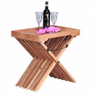 WOHNLING Beistelltisch Massivholz Akazie Design Klapptisch Serviertablett und Tisch-Gestell klappbar Landhaus-Stil