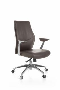 Bürostuhl OXFORD 2 Echtleder Braun 5-Punkt Synchronmechanik Drehstuhl 120kg