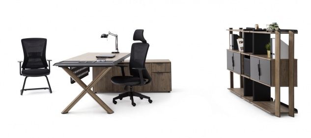 Ovali Schreibtisch Set 3-teilig Vinil Holzoptik