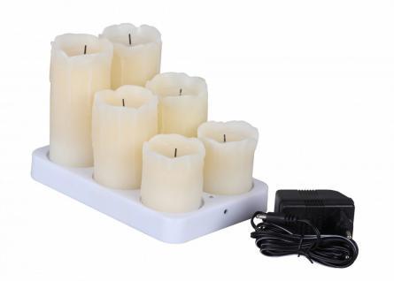 6er Set LED Echtwachs Kerzen mit Akku und Ladestation