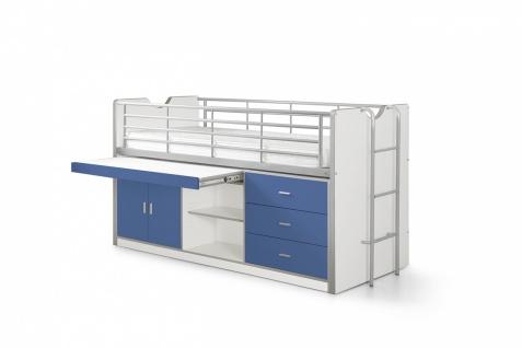 Bonny Hochbett mit Stauraum 90x200 in Blau