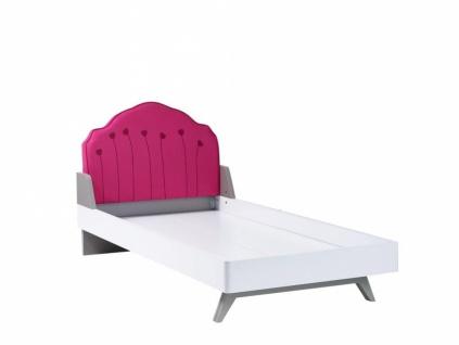 Kinderbett Weiß Pink Sweety gepolstert 100x200