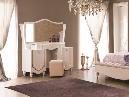 Kommode Annelore in Barock Stil Weiß / Gold