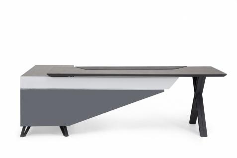 Ovali Design Büroschreibtisch 2-teilig Cross Grau Links