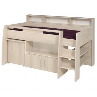Kinderhochbett Tesso in Akazie mit Schreibtisch