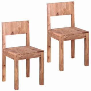 WOHNLING Esszimmerstühle 2er Set Massiv-Holz Akazie Design Küchen-Stühle 40 x 40 cm Holzstühle braun Landhaus-Stil