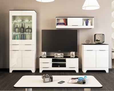 Wohnwand Set Weiß Schwarz Verona 4-teilig