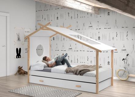 Coco Zelt-Bett Weiß Natur 90x200 mit Bettkasten