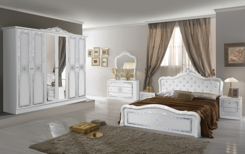 Schlafzimmer in Weiß Christina mit 6-türigem Schrank