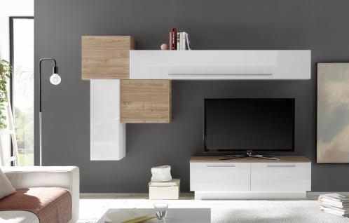 Wohnwand Set Veldig 6-teilig Weiß Nussbaum Optik