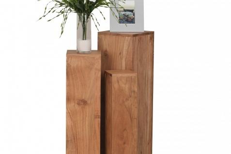 Akazie Massivholz Beistelltische 3er Set Säule Neu