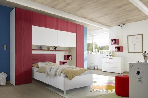 Design Jugendbett Space Kopfteil Rot 90x200
