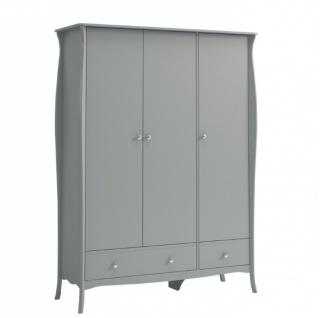 Kleiderschrank Grau Bastian 3-türig Romantik Stil