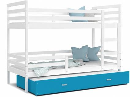 Etagenbett mit Gästebett Weiß Blau Rico 90x200