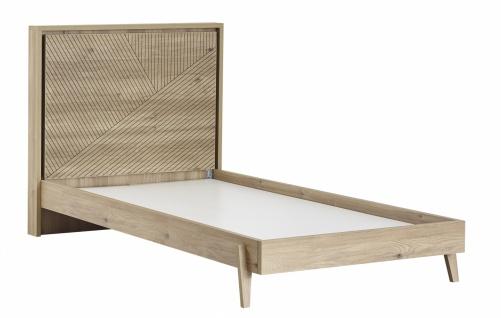 Jugendbett in warmer Holz Optik Origami 100x200