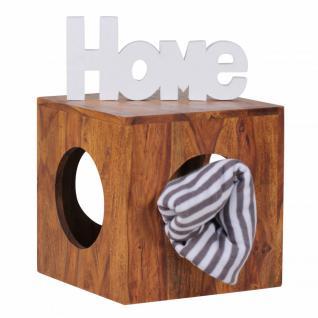 Sheesham Massivholz Beistelltisch 35 x 35 cm Cube