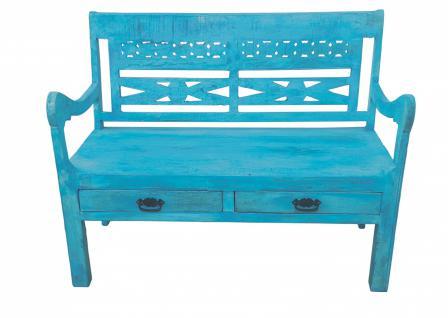 Sitzbank Blou mit Rücklehne in blauem Antiholz
