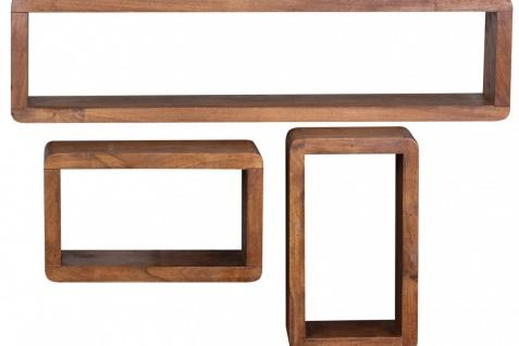 Sheesham Massivholz 3er Set Wandregale Cubes