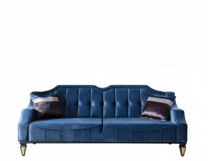 Schlafcouch Kanyon in Blau gesteppt 3-Sitzer