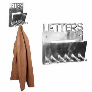 Design Deko Wandgarderobe Letters aus Aluminium 6 Kleiderhaken Farbe silber