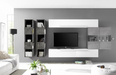 Wohnwand Set Veldig in Hochglanz Weiß Grau