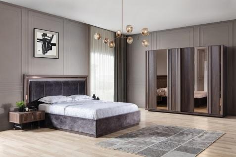 Design Schlafzimmer Set Grau Braun Aral 4-teilig