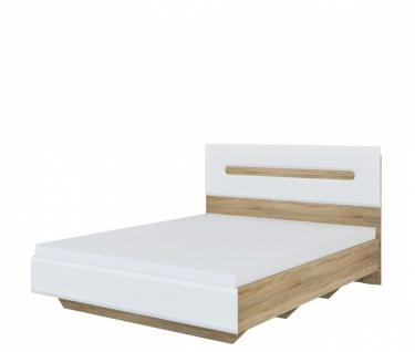 Schlafzimmer Bett 160x200 in Eiche Weiß Leonardo