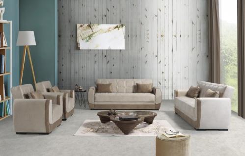Sofa Set Couch mit Schlaffunktion in Beige Bame 3+2+1