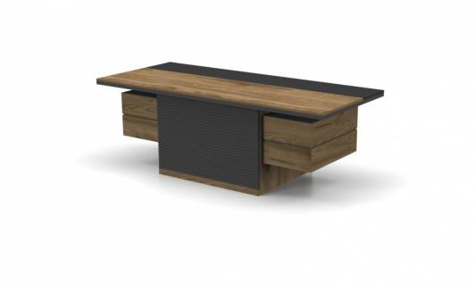 Büro Schreibtisch Royce in dunkler Holz Optik