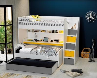 Almila Hochbett Set Neo drei Schlafplätzen Weiß Gelb