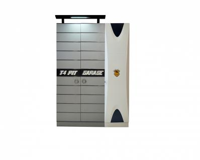 Kinderkleiderschrank in Grau-Weiß Cat Garage 3-türig