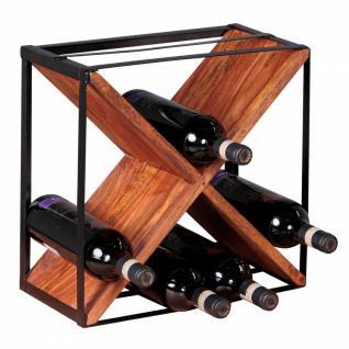 WOHNLING Weinregal Massiv-Holz Sheesham Flaschenregal Standregal für ca. 16 Flaschen mit Metallrahmen Holzregal X-Form