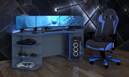 Gaming Tisch Xeno in Anthrazit Blau