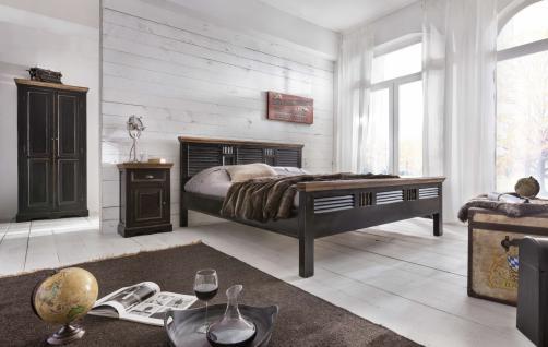 Schlafzimmerset Corisa 4-teilig aus Mangoholz Schwarz