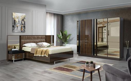 Schlafzimmer komplett Set Ruiz in Holzoptik Hochglanz