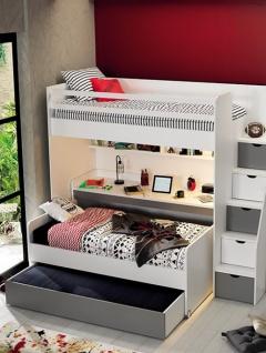 Hochbett Set Neo mit drei Schlafplätzen Weiß Grau