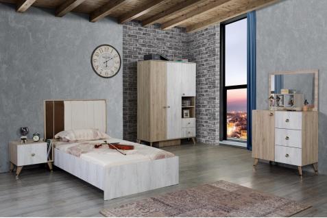 Jugendzimmer inklusive Spiegelkommode Flori 4-teilig