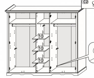 Schlafzimmer Set Rusticus 4-teilig in Pinie Weiß - Vorschau 3
