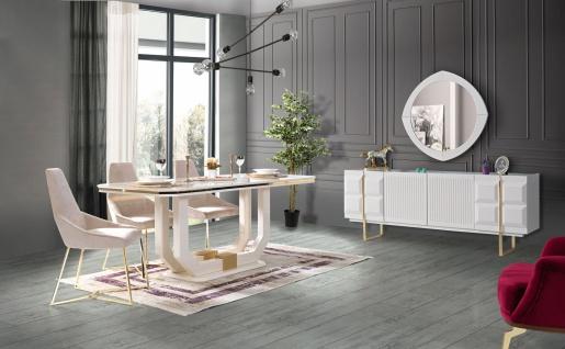 Lidya Esszimmer komplett Pianno mit 4 Stühlen in Weiß - Vorschau 1