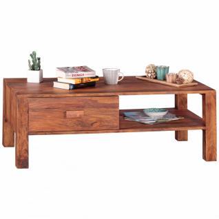WOHNLING Couchtisch Massivholz Sheesham Design Wohnzimmer-Tisch 110 x 60 cm Schublade und Fach Landhausstil Holztisch