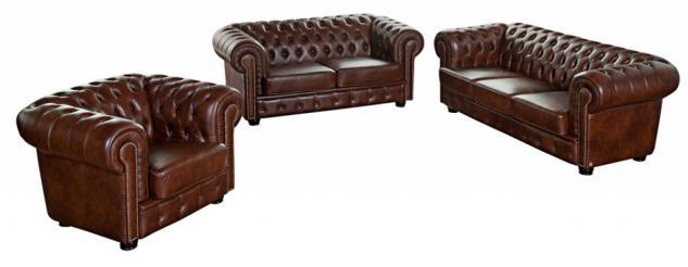 Sofa 3-Sitz/Sofa 2-Sitz/Sessel Norwin Wischleder, braun