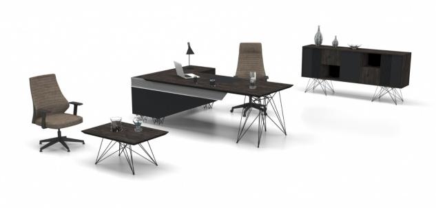 Design Büromöbel Magnum Holz Optik Grau 3-teilig