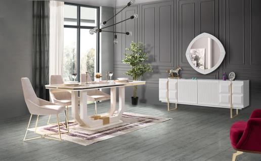Esszimmer komplett Pianno mit 4 Stühlen in Weiß