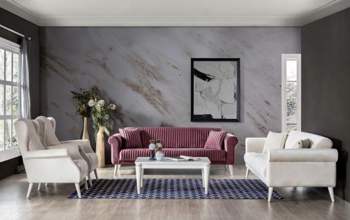 Sofa Set Gino mit Sessel, 2- und 3-Sitzer in Rot/Creme